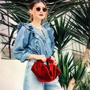 J. Crew Ruffle Front Chambray Denim Top